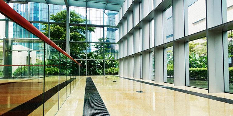 Internal High Lobby Glass Cleaning with special tool without water flood Heavy equipements